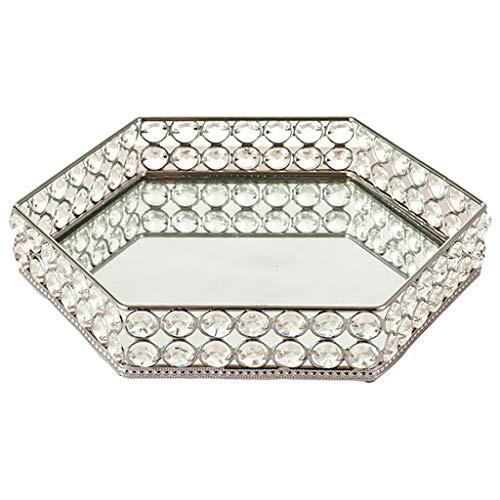 CUTICATE Bandeja de Tocador de Cristal Hexagonal Moderna de Estilo Europeo Bandeja de Baratija Adornada Decoración