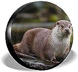 PageHar Cubierta para llanta de Repuesto, Protectores para Llantas Resistente a la Intemperie, Cubiertas para Ruedas de poliéster, Cubierta para llanta Otter Animal