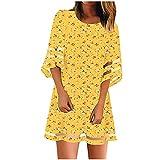Abito estivo da donna, casual, a maniche corte, scollo rotondo, a cinque punti, con stampa floreale e stampa floreale giallo. XL
