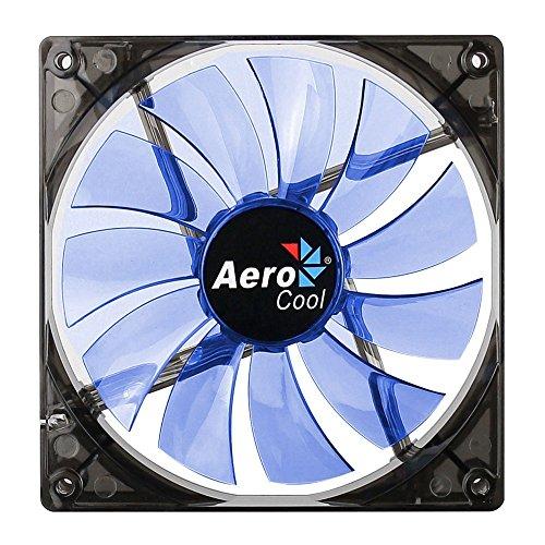 Aerocool Lightning - Ventilador para Caja de Ordenador (1200 RPM, 48 CFM, 22 dB), Negro y Azul