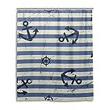mydaily Vintage Anker blau Stripe Duschvorhang 152,4x 182,9cm, schimmelresistent und Wasserdicht Polyester Dekoration Badezimmer Vorhang
