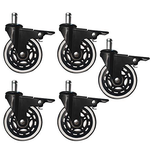 panthem - Juego de 5 ruedas para silla de oficina con freno, silla giratoria silenciosa con ruedas de 11 x 22 mm para silla de oficina y silla de gaming