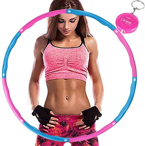 Aoweika Hula Hoop Reifen Erwachsene, Reifen mit Schaumstoff von 0,75 bis 1,0kg einstellbar, mit Mini Bandmaß für Erwachsene Anfängermit Gymnastikreifen zum Abnehmen, Fitness, Massage, Blau Rosa
