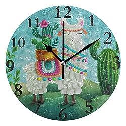 Dozili Animal Llama Succulent Cactus Round Wall Clock Arabic Numerals Design Non Ticking Wall Clock Large for Bedrooms,Living Room,Bathroom