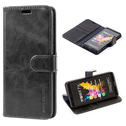 Mulbess Handyhülle für Honor 7X Hülle, Leder Flip Case Schutzhülle für Huawei Honor 7X Tasche, Schwarz