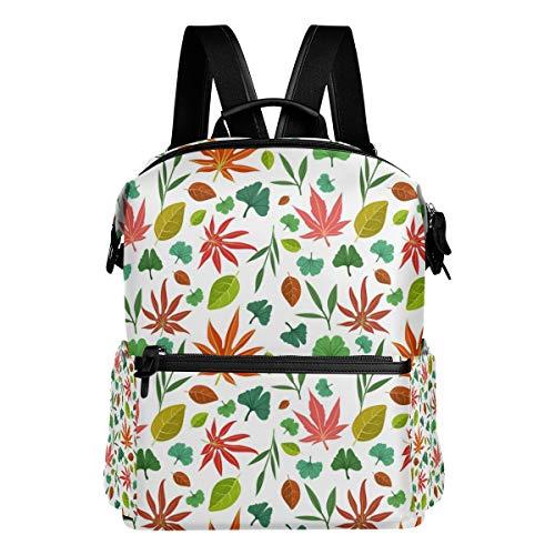 FANTAZIO Mochilas asiáticas con patrón de hojas mochila escolar