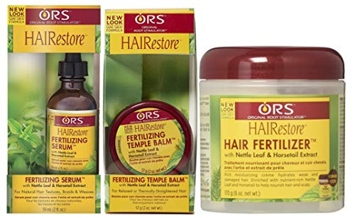 ORS HAIRestore Fertilizing Serum 59ml, Fertilizing Temple Balm 57g & Hair Fertilizer 170g (Set of 3)