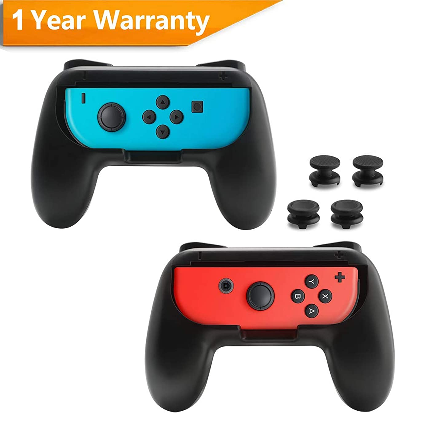 Rocketek Grips for Nintendo Switch Joy-Con, N-Switch Controller Grip with 4 Thumb Grip Caps (2 Normal+2 Extra Height), Wear-Resistant Handle Kit for Switch Joy Cons Controller, 2 Pack (Black)