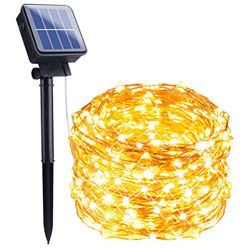 Outdoor Solar String Lights, 72 Feet 200 Led Solar Powered Fairy Lights with 8 Lighting Modes Waterproof Decoration Copper Wire Lights for Patio Yard Trees Christmas Wedding Party (Warm White)