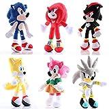 lhtczzb 6 Piezas 28 Cm Figuras Sónicas Juguete De Felpa Sonic / Shadow / Silver The Hedgehog Muñeca ...
