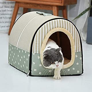 Dog Kennel Removable & Washable Pet Bed Autumn Winter Pet Supplies, Specification: S High Quality (Color : Green Cartoon)