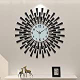 FLEBLE 23.6 inch Wall Clock Battery Operated,White Glass Dial with Arabic Numerals,Silent Clocks Black Decoration Design for Living Room Home Kitchen Bedroom Dining Room