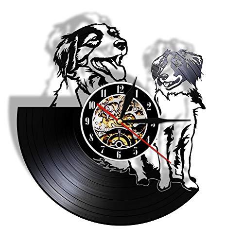 ZYQXI Reloj Pared Vinilo Colorido Reloj de Pared de Vinilo Reloj de Pared para Perros Reloj de Pulsera Decorativo para el hogar Arte de Pared LED Control Remoto Reloj de Pared de Siete Colores