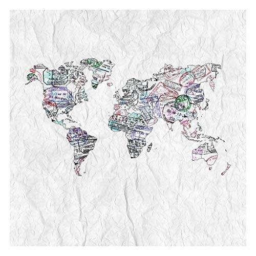Vliestapete Reisepass Stempel Weltkarte, HxB: 240cm x 240cm