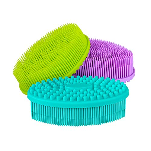 Silicone Body Scrubber, 3pcs Soft Exfoliating Body Brush, Shower Bath Loofah Brush, SPA Massage Skin Care Tool, for Sensitive and All Kinds of Skin