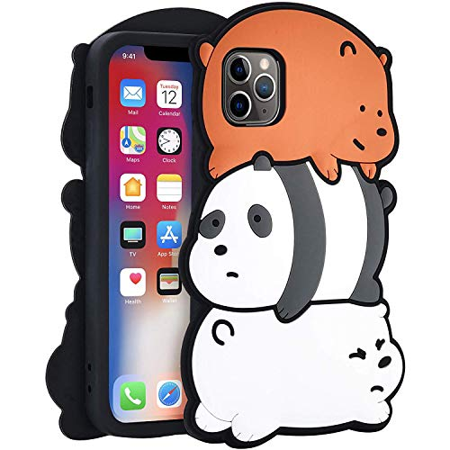 TopSZ Bears Case for iPhone 11 6.1',Silicone Cartoon 3D Hero Animal Gel Cover,Kids Girls Teens Boys Man Animated Cool Fun Cute Kawaii Soft Rubber Funny Unique Character Cases for iPhone 11 6.1'
