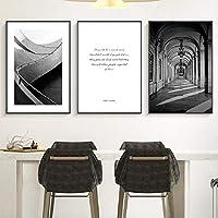 """ヴィンテージの壁の芸術教会の建物のキャンバスの絵画リビングルームのギャラリーの廊下の家の装飾のための白黒写真19.6""""x27.5""""(50x70cm)X3フレームレス"""