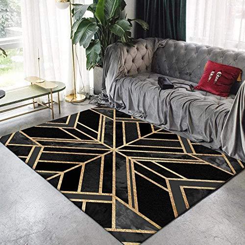 Rugs Modern Carpet Traditional for Living Room Bedroom Geometric Art in Black Gold Soft Non-Slip XXL Extra Large Medium Home Floor Area Rugs