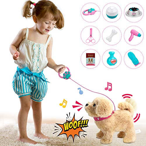POLARDOR Talking Golden Retriever, Repeats What You Say, Plush Animal Electronic Interactive Toy, Repeating Singing Walking and Barking Pet, Stuffed Puppy Dog for Kids Boys Girls & Baby Gift