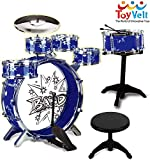 12 Piece Kids Jazz Drum Set – 6 Drums, Cymbal, Chair, Kick Pedal, 2 Drumsticks, Stool – Little...