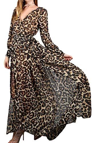 Fasumava Damen Im Herbst Elegante Chiffon - Kleid Aus Maxi - Kleider Leopard M