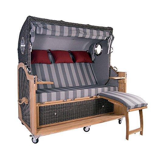 Strandkorb Kampen Spezial 3-Sitzer Mocca Polyrattan Rattan Gartenmöbel Bullaugen 58337