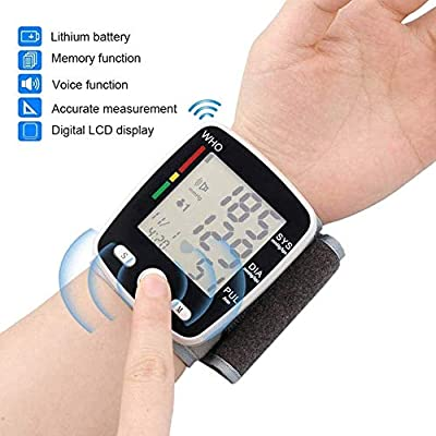 ZYK LCD Display Blood Pressure Monitor,Voice Function and Dual User Mode Automatic Wrist Blood Pressure Monitor Digital?Wrist Pulse Meter Automatic Digital Pulsometer