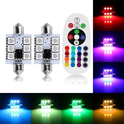 AMAZENAR 2-Pack (1-Set) 41MM (1.61) 211-2 212-2 569 578 RGB Multicolored Non-Polarity Canbus Error Free Car Dome Led Festoon Bulbs 12V,Colorful Atmosphere Lamp Interior Bulbs Reading Map Light