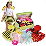 fedio Girls Princess Dress up Trunk Ladybug, Bee, Fairy Costume for Little Girls Toddlers Age 3-7