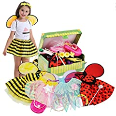 ❤ Girls dress up costume set for Halloween,Christmas, birthday party, pretend play or daily play dress up. All princess costume neatly fit in a adorable trunk for storage. Recommend for most ages 3-7 years ❤ Girls dress up trunk include 5 different r...
