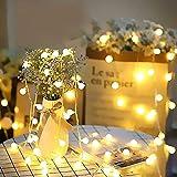 Catena Luminosa, Tonitre 6 Metri Globo Luci Stringa LED, 40 LEDs, alimentate a Batteria, Bianco Caldo Luci Decorative per Interno Casa Festa Matrimonio