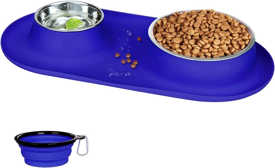 Double Dog Cat Bowls Stainless Steel, Plus Collapsible Dog Bowl with No Spill Non-Skid Silicone Mat, Three Feeder Food Water Bowl for Small Medium Large Dogs, Puppies, and Pets