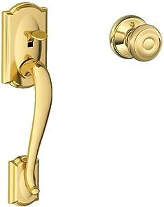 Schlage LOCK Camelot Front Entry Handle Georgian Interior Knob (Bright Brass) FE285 CAM 505 GEO 605 - LOCK FE285 CAM 505 GEO 605