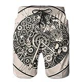 Jiger Mens Beach Shorts Clocks Watches Parts Design Swim Trunks Boardshort PantsXXL