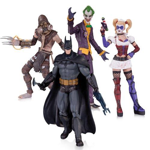 DC Collectibles Batman: Arkham Asylum: The Joker, Harley Quinn, Scarecrow and Batman Action Figure (4-Pack)