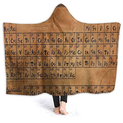 Premium Flannel Warm Hooded Blanket Cloak, Vintage Periodic Table Of Chemical Elements Hood Throw Wearable Hoodies Blankets Anti-Pilling Thick Couch Bed Shawl For Kids Adult All Season 50'X40