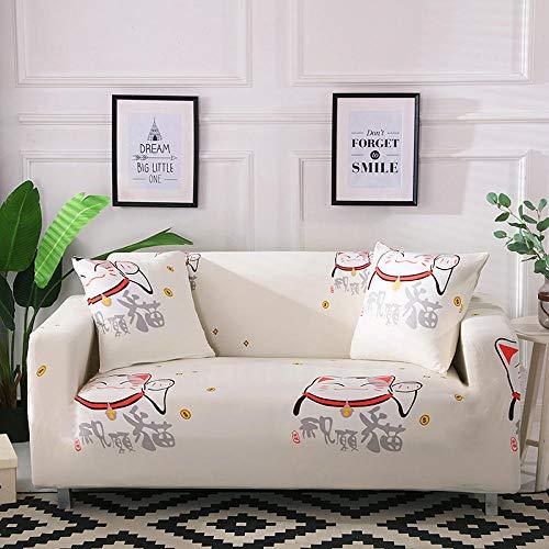 HTEZGDB - Universele bankhoes Stretch Sofa Cover Sofa Arm Protector Covers, Zacht en Comfortabel Bescherm de Bank (2 zits: 145-185cm, Cat, Off-White)