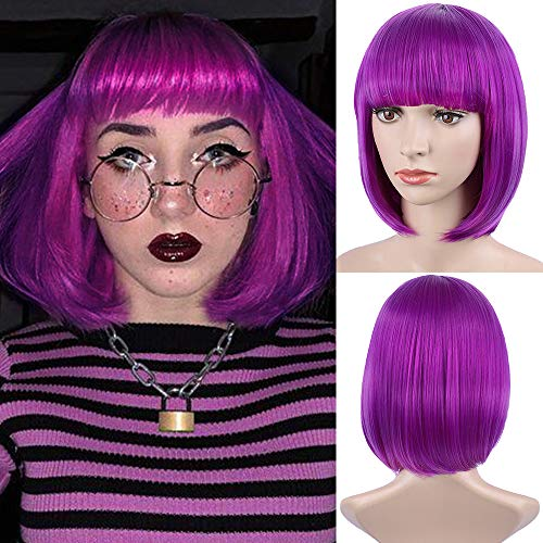 E-FOREST Purple Wig Short Bob Wigs with Bangs for Women Straight Hair Wig Synthetic Party Wigs for Women Girls 12 Inch Colorful Wigs, Purple