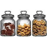 Get Goods - Confezione da Tre barattoli in Vetro scanalato, capacità 990 ml ciascuno, per tè, caffè, Zucchero e Biscotti