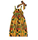 Xfglck Toddler Baby Girls Summer Dress Boho Print African Tradition Halter Dresses Party Wedding Formal Clothes (Yellow, 3-4Y)