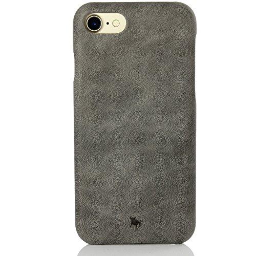 BULLAZO Menor Classic, hochwertige Handyhülle, Hülle, Hülle, Backcover echt Leder, Kompatibel mit Apple iPhone SE 2020, 7 & 8 in braun grau