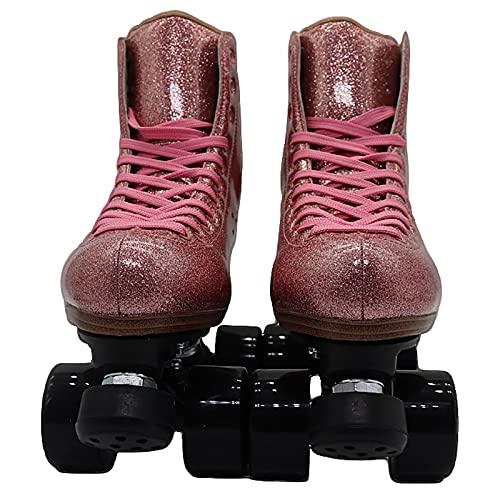 Patines dobles para mujer, patines de cuero fluorescente rosa para adultos, patines profesionales de seguridad de 4 ruedas para niños(Size:42)