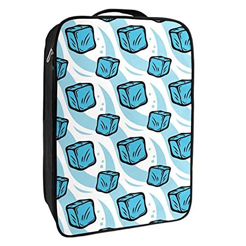 Caja de almacenamiento para zapatos de viaje y uso diario congelado cubos de hielo azul patrón bolsa organizador portátil impermeable hasta 12 yardas con doble cremallera 4 bolsillos