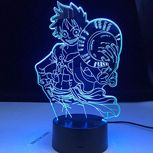3D ilusión luz LED noche de una sola pieza Luffy anime USB lámpara de mesa cambio de color luz de la noche dormir niño niño regalo de cumpleaños