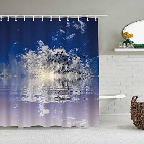 N\A Duschvorhang Ozeanblau Bewölkter Himmel Fliegende Möwe Vogel Sonnenuntergang Meerwasser Reflexion Natürliche wasserdichte Badvorhänge Haken enthalten - Badezimmer dekorative Ideen