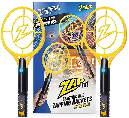 ZAP IT! Bug Zapper Twin-Pack - Rechargeable Mosquito, Fly Killer and Bug Zapper Racket with Blue Light Attractant (Medium, Yellow)