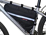 Bushwhacker Fargo Black - Large Triangle Bicycle Frame Bag w/Reflective Trim Cycling Pack Bike Under Seat Top Tube Bag Front Rear Accessories Crossbar