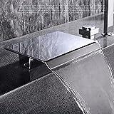 QWL Moderne Wannenrandarmatur Chrom 5-Loch-Wasserfall-Wannenarmatur 3-Griffanzahl Elegantes Design