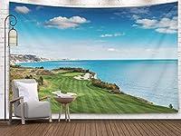 GOOESINGタペストリーウォールアートリビングルーム/ベッドルームゴルフコースブルースカイホワイトクラウドファッショナブルなタペストリー壁掛け装飾