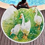 Stuoia da spiaggia, Anatra di gomma della tappetino della spiaggia rotonda Anatra veloce Asciugamano Asciugamano Asciugamano dell'Agrio in Agriturismo Piante del lago Erba ancia Flowers Pond Animali G